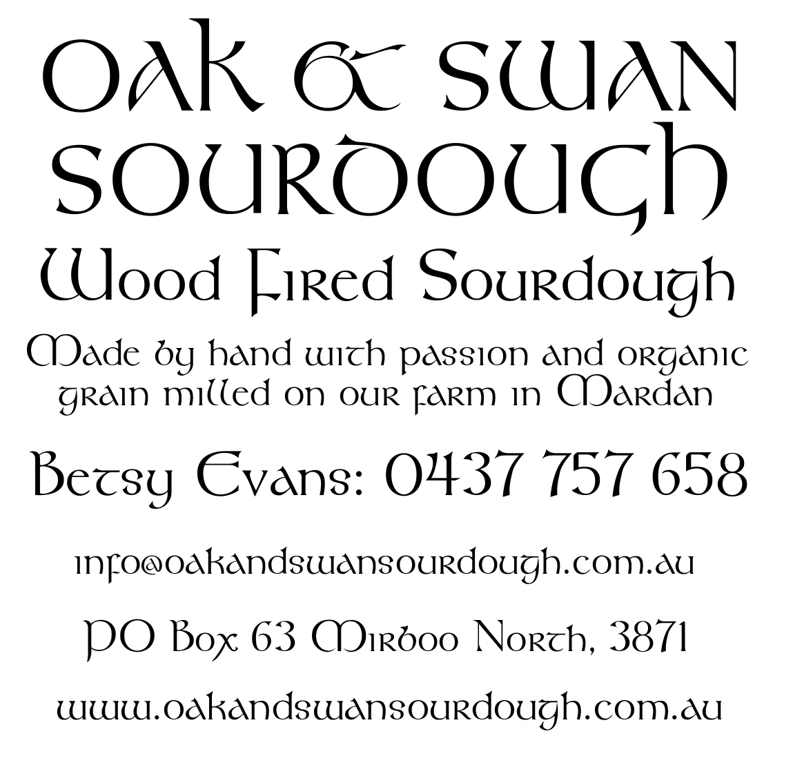 OakandSwanSourdough Contact Us