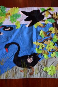 oak and swan hanging detail